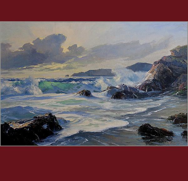 Bennett Bradbury, ocean waves, california artist, oil painting, vander molen fine art