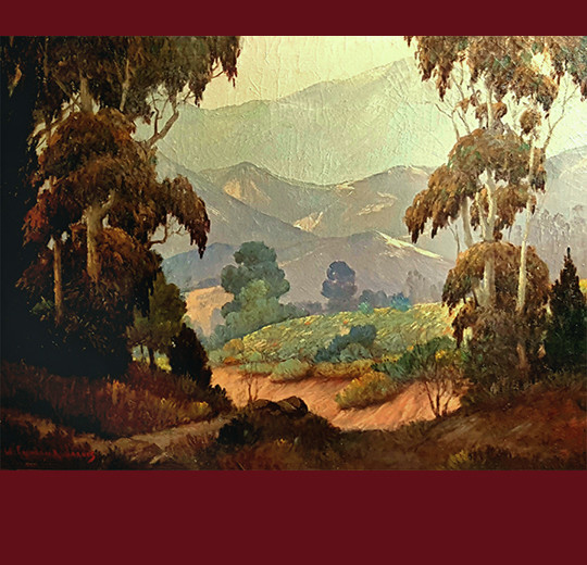George Thomson Pritchard, pond and trees, california vintage fine art, fine art, oil painting, vander molen fine art gallery